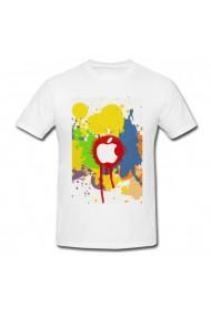 Tricou Apple color splash effect alb