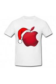 Tricou Apple logo Christmas alb