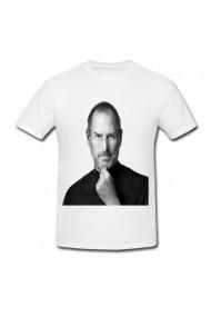 Tricou Steve Jobs famous portrait alb