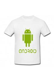 Tricou Andoid logo alb