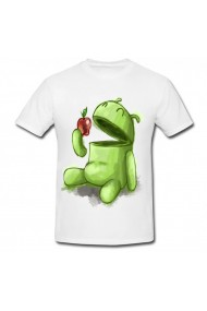 Tricou Andoid eats Apple 2 alb