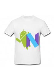 Tricou Android Nougat logo alb