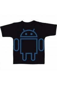 Tricou Android logo white negru