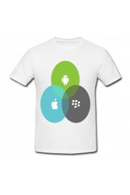 Tricou Android, Apple and Blackberry alb
