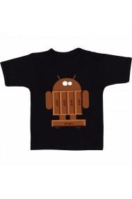 Tricou Android Kitkat skateboard negru