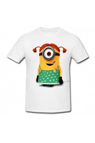 Tricou Minion girl alb