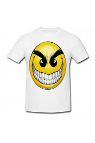 Tricou Angry smiley face alb