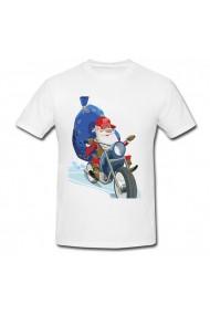 Tricou Santa claus on a motorcycle alb
