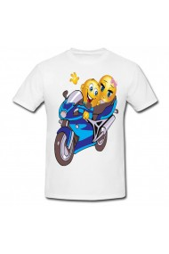 Tricou Motorcycle smiley alb