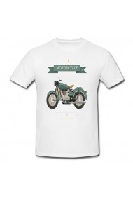 Tricou Vintange motorcycle alb