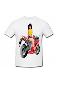Tricou Fata pe motocicleta alb