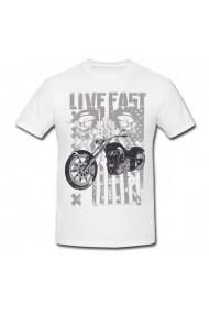 Tricou Live fast alb