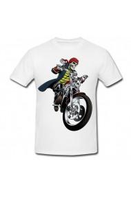 Tricou Schelet pe motocicleta alb