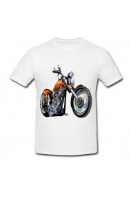 Tricou Motorcycle vector alb