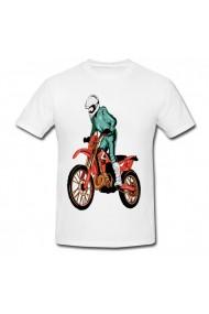 Tricou Motorcycle man drawing alb