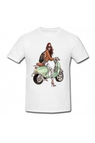 Tricou Scooter girl illustration alb