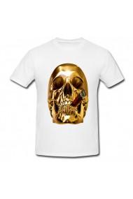 Tricou Golden skulls smoking alb