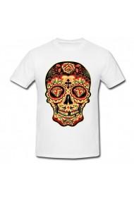 Tricou Black and red sugar skull alb