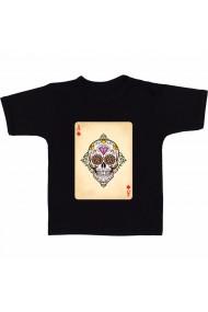 Tricou Dia de los muertos playing cards negru