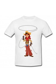Tricou Cowgirl with lasso alb