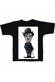 Tricou Charlie Chaplin easiest cartoon negru