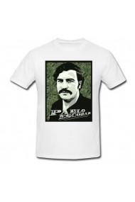 Tricou Portret Pablo Escobar alb
