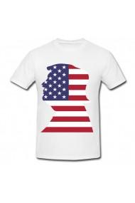Tricou Donald Trump - Flag USA alb