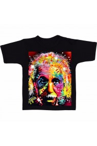 Tricou negruert Einstein color''alb