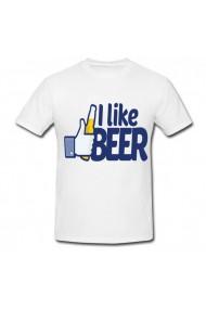 Tricou I like beer alb
