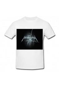 Tricou Metallica lightning logo alb