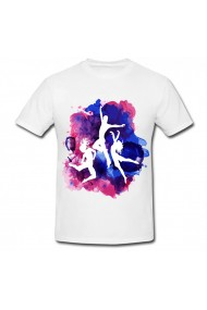 Tricou Hip hop dance painting alb