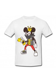 Tricou Mickey Mouse gangster alb