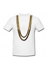 Tricou Gold chains alb