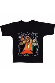 Tricou Three gangsters cartoon negru