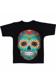 Tricou Colorful day of the dead skull designs negru