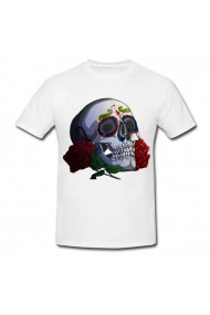 Tricou Day of the dead skull alb