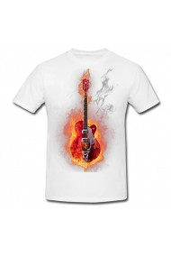 Tricou Fire guitar alb