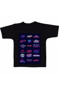 Tricou 80`s retro logos negru