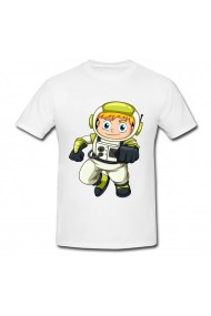 Tricou Astronaut animated alb