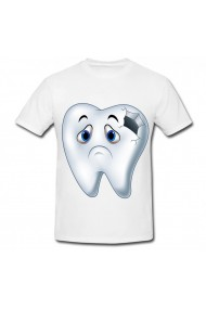 Tricou Holes in tooth alb