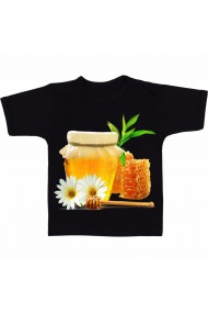 Tricou Honey with flower negru
