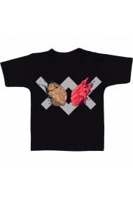 Tricou Inima vs creier negru