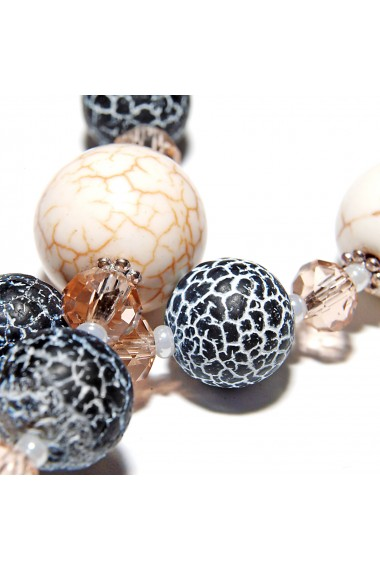 Set bijuterii GANELLI Statement din pietre semipretioase Howlite, Agate Crackle - colier lung, bratara, cercei