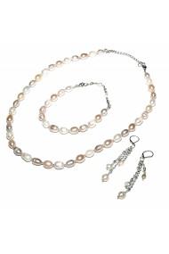 Set bijuterii GANELLI din Perle naturale de cultura- colier, bratara, cercei
