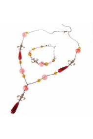 Set bijuterii GANELLI- colier lung, bratara, cercei din Agate Piatra Dragonului, Cuart cherry