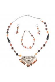 Set bijuterii GANELLI - colier cu pandantiv statement, bratara si cercei din pietre Agate Eye