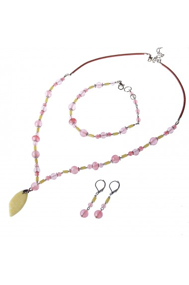 Set bijuterii GANELLI- colier, bratara, cercei din pietre semipretioase Jad Serpentin, Cuart cherry