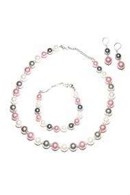 Set bijuterii GANELLI Perle Mallorca - colier, bratara, cercei (argintiu-lila)