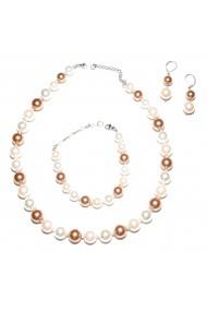 Set bijuterii GANELLI Perle Mallorca - colier, bratara, cercei (roz-aramiu)