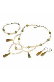 Set bijuterii GANELLI Statement- colier, bratara, cercei din Agate braziliene, Jad Serpentin, Perle naturale de cultura